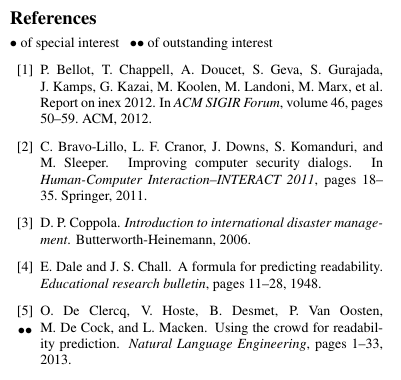 Key references examples